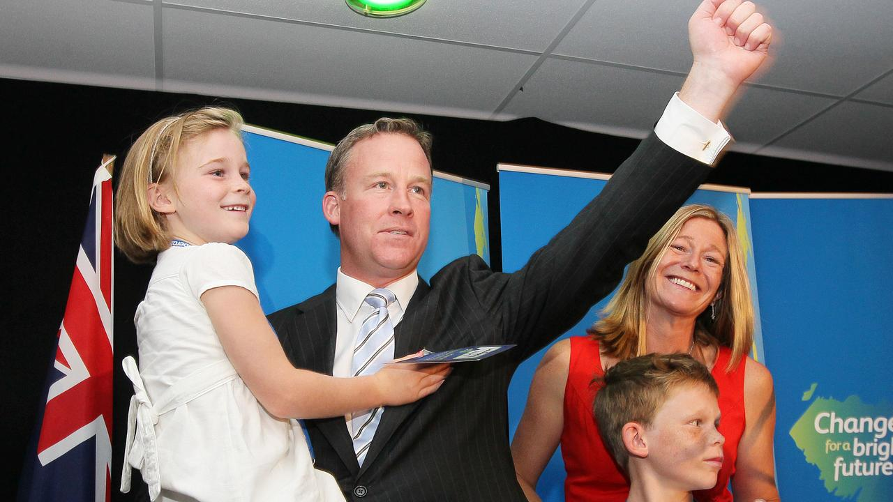 Will Hodgman holds his daughter Lily and is joined by his son James and his wife Nicola Hodgman after his address to the party faithful at the Liberals Campaign Launch in Launceston in March 2014.