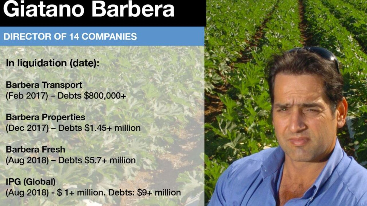 A snapshot of companies which Giatano Barbera was a director that went into liquidation. Picture: The Courier-Mail
