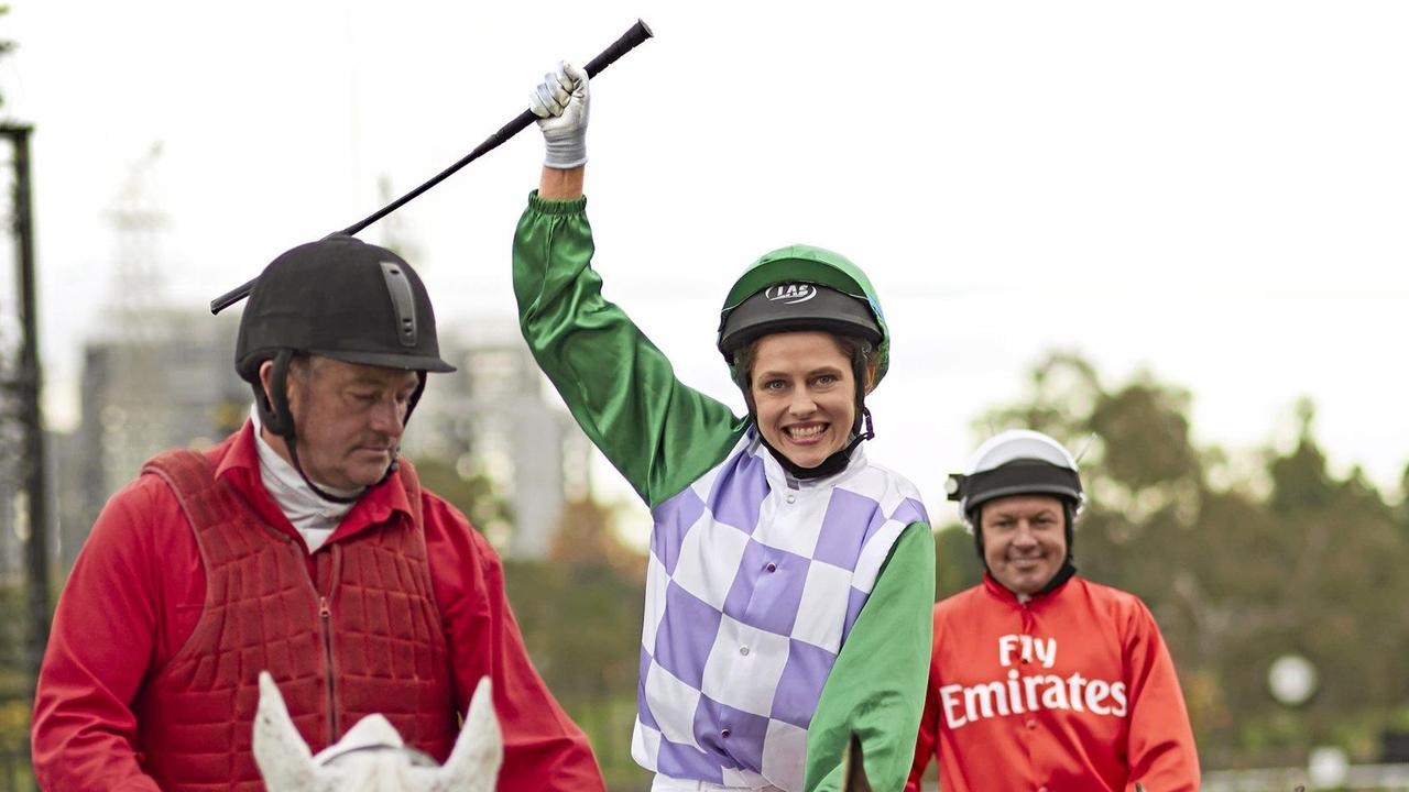 Teresa Palmer as Michelle Payne in a scene from the movie Ride Like A Girl. Picture: Lachlan Moore