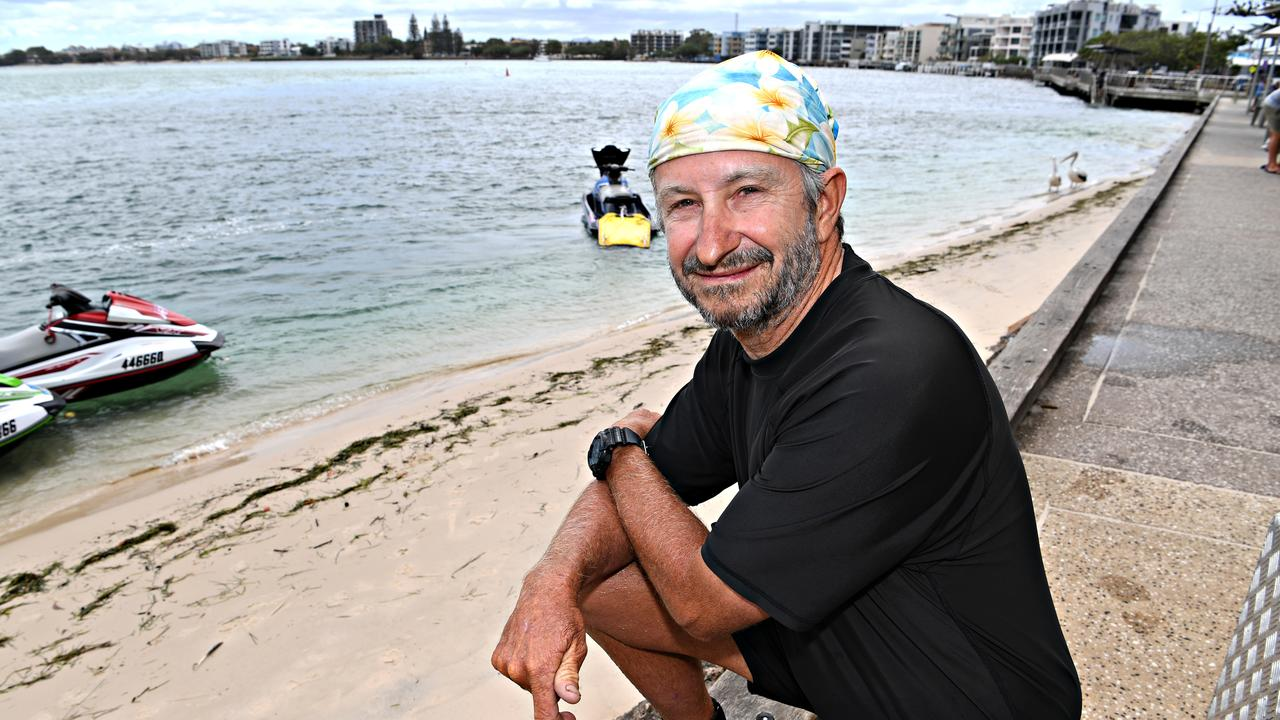 STONEFISH SPIKE: Caloundra Jet Ski Hire owner Ken Jeffreys warns of stonefish in an unpatrolled area of Bulcock Beach as dozens of people present to hospital for stings.
