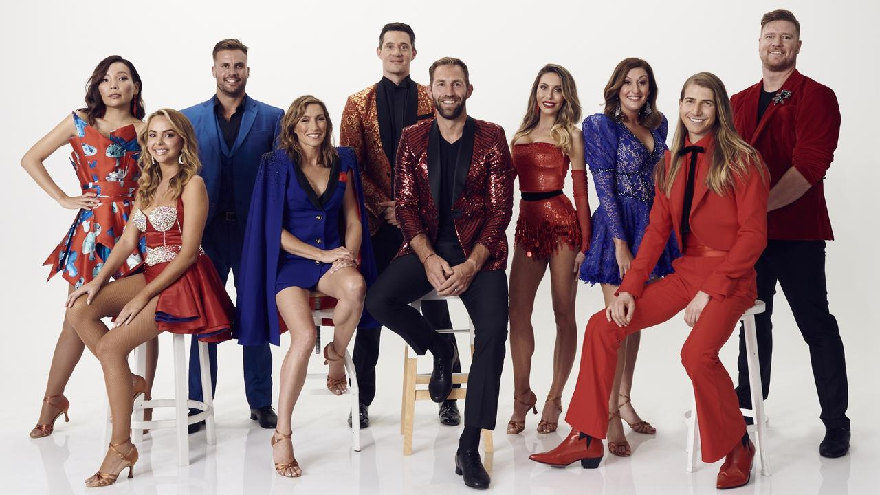 Embargoed for 8pm tonight: Dancing With The Stars 2020 cast Dami Im, Angie Kent, Beau Ryan, Claudia Karvan, Ed Kavalee, travis Cloke, Ed Kavalee, Celia Pacquola, Christian Wilkins and Dean Wells.