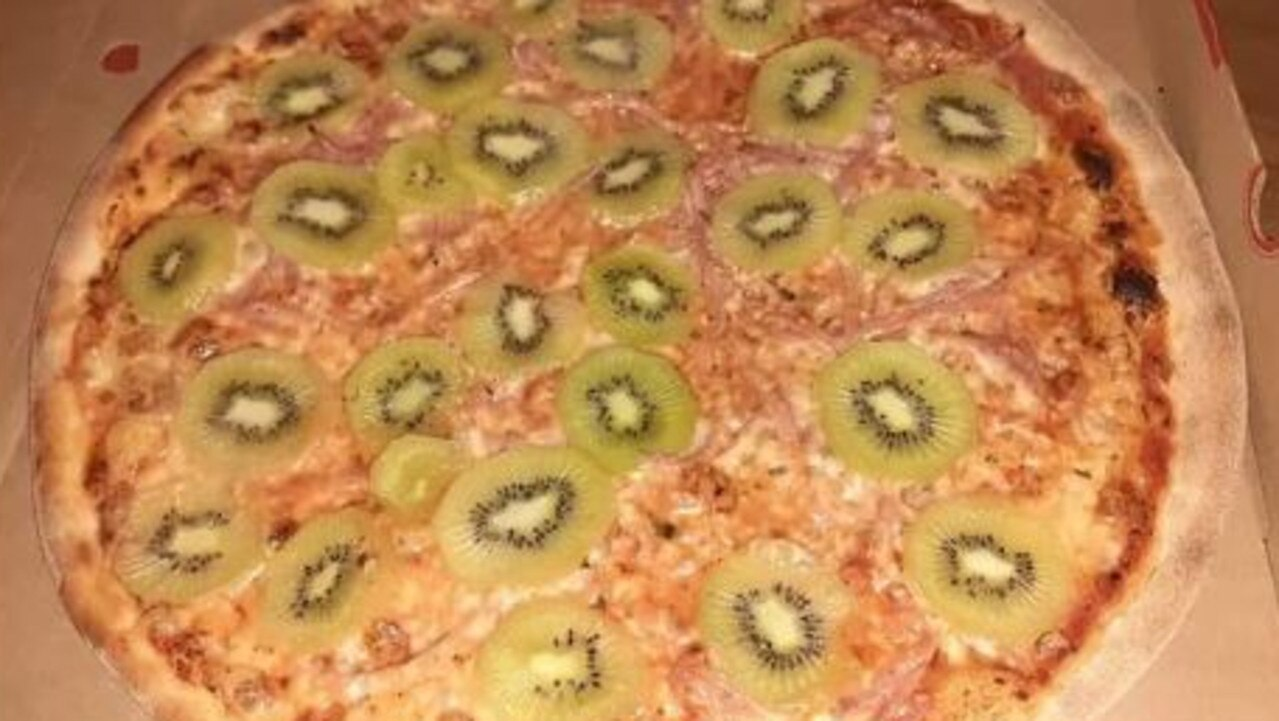 A tourist visiting Denmark uploaded this photo of kiwifruit on a pizza with the caption 'an unholy abomination'.