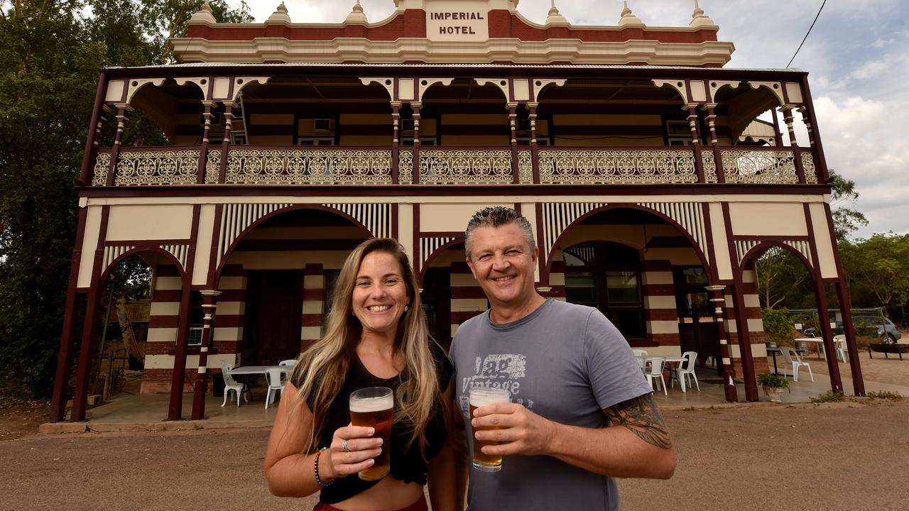 Ravenswood. Stevie Usher and publican John Schluter at the Imperial Hotel. Picture: Evan Morgan