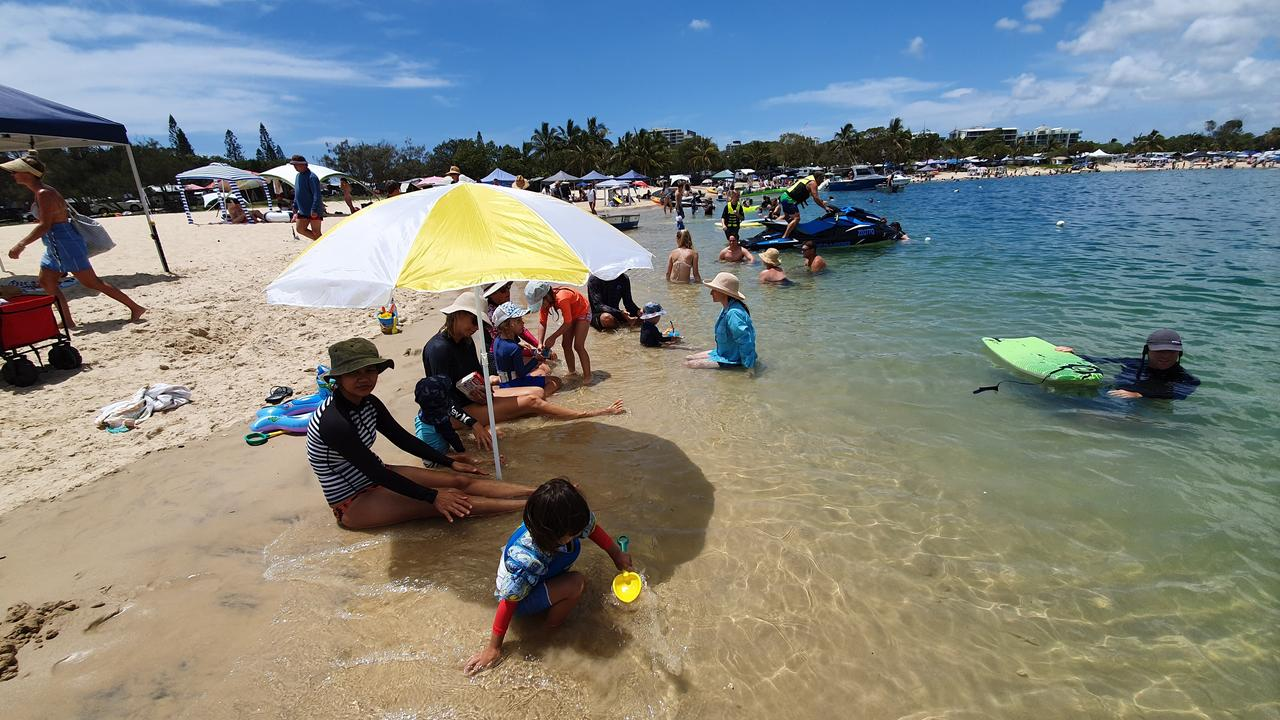 PACKED: There were plenty of families frolicking where Che Chapman got stung by a stonefish at Cotton Tree.