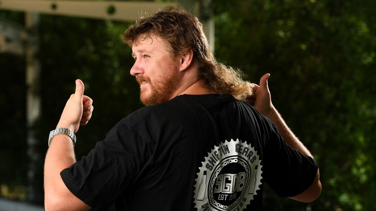 Humpty Doo Diesel Mechanic Ash Gardner has the fiercent bloody mullet in Australia, probably the world. Picture. Che Chorley.