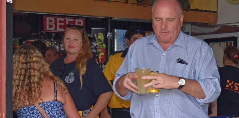 State Minister for Emergency Services David Elliot shouted drinks for emergency personnel at the Rappville Pub.