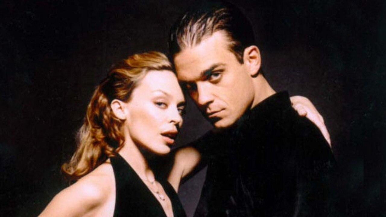 Kylie Minogue and Robbie Williams on the set of the Kids video in 2000. Pic: EMI