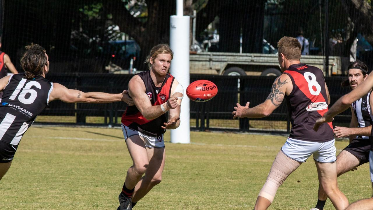 BIG MEN FLY: The Ballina Bombers will play the Moorooka Roosters in a practice match in February 2020. Here's some action from the Northern Rivers men's AFL grand final between Ballina and Byron Bay at Oakes Oval, Lismore.