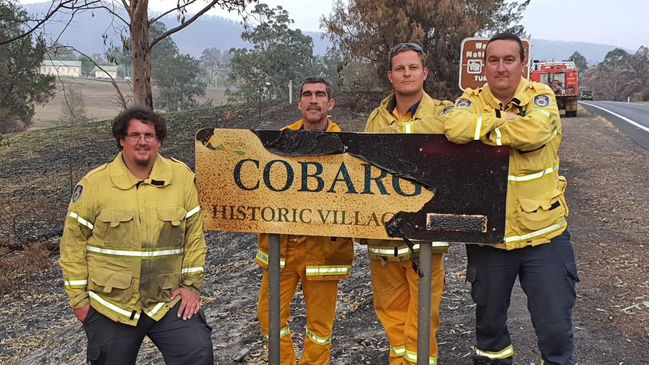 LOCAL HEROES: Kyogle Councillor Cr Hayden Doolan, and Nimbin RFS'S Bernard Rooney, Nemo Chester and  David Henderson from Wyrallah RFS last week worked in the Northern Rivers RFS Strike Team on the Far south coast of NSW.