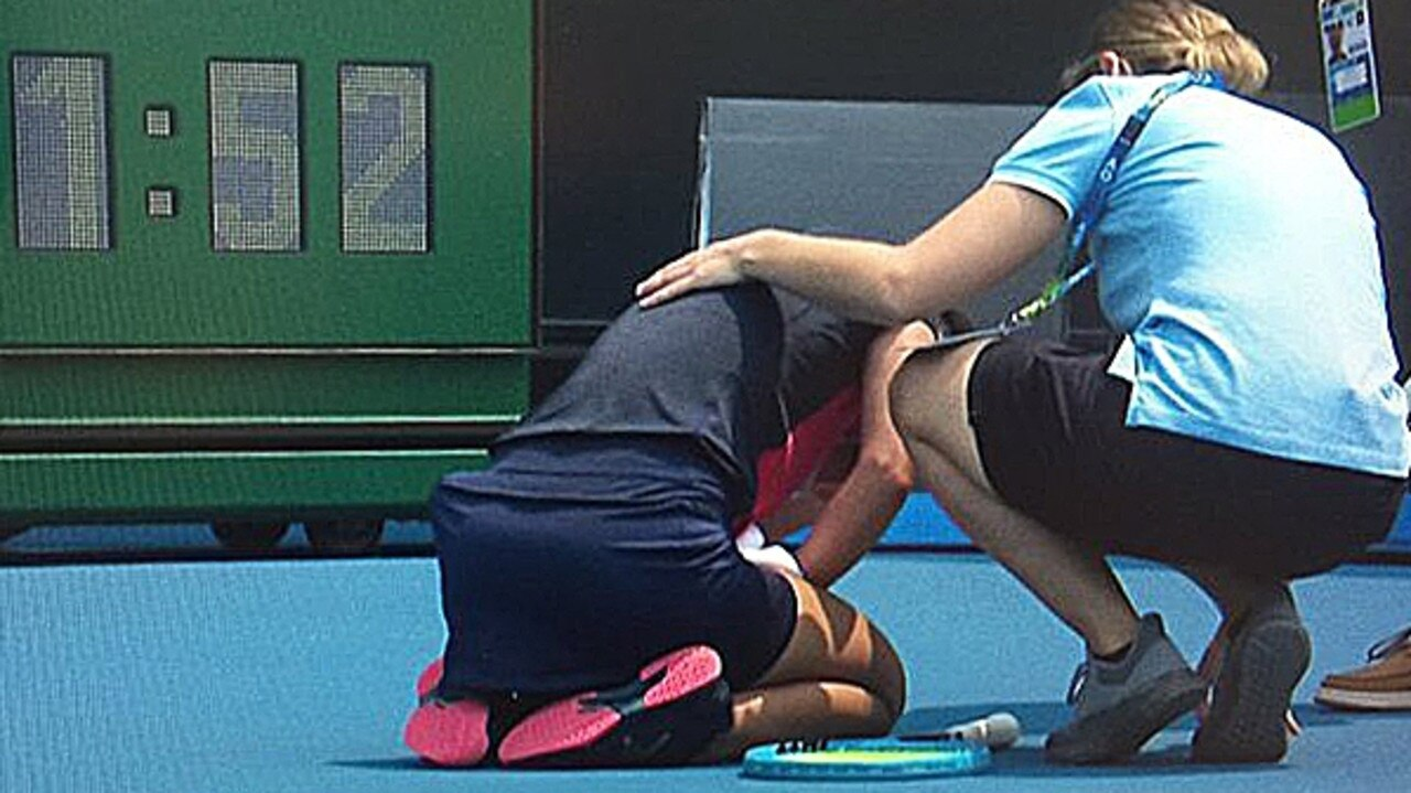 Slovenian Dalila Jakupovic had to abandon her match against Switzerland's Stefanie Voegele when she collapsed at the Kooyong Classic in Melbourne. Source: ESPN
