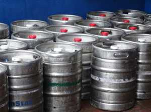 Men charged after carrying empty kegs to their hotel