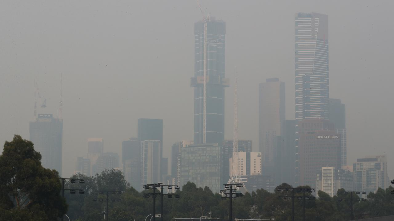 Smoke haze from bushfires continues to hang over Melbourne yesterday. Picture: AAP