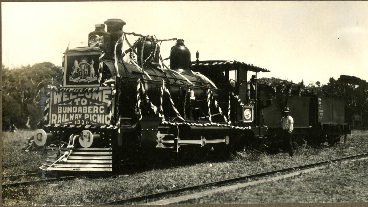 LOOKING BACK: A decorated engine at the Bundaberg Railway Picnic in 1931