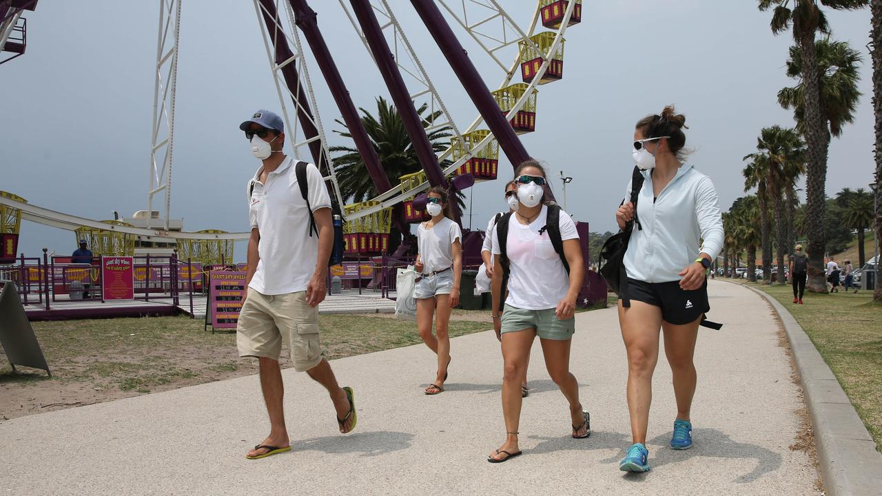 Tourists wear masks in Geelong. Picture: Peter Ristevski