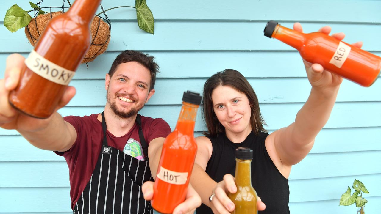 Jaimi Crocker and Brendan Chan are the co-owners of the new funky cafe The Village Pickle in Nambour. The couple hot smokes brisket daily, and make their own condiments. Photo: John McCutcheon / Sunshine Coast Daily