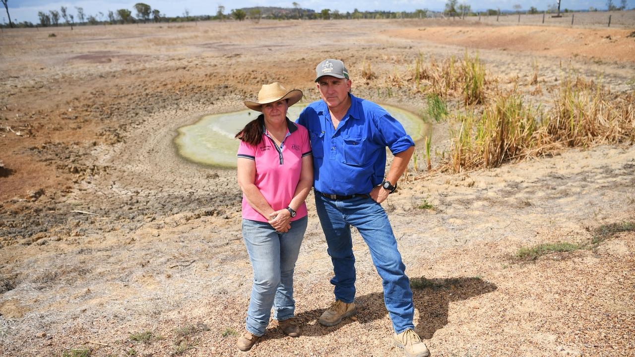 DAM DRY: Vanessa Southey and Russ Tindall near one of the dams on their Ridgelands property.