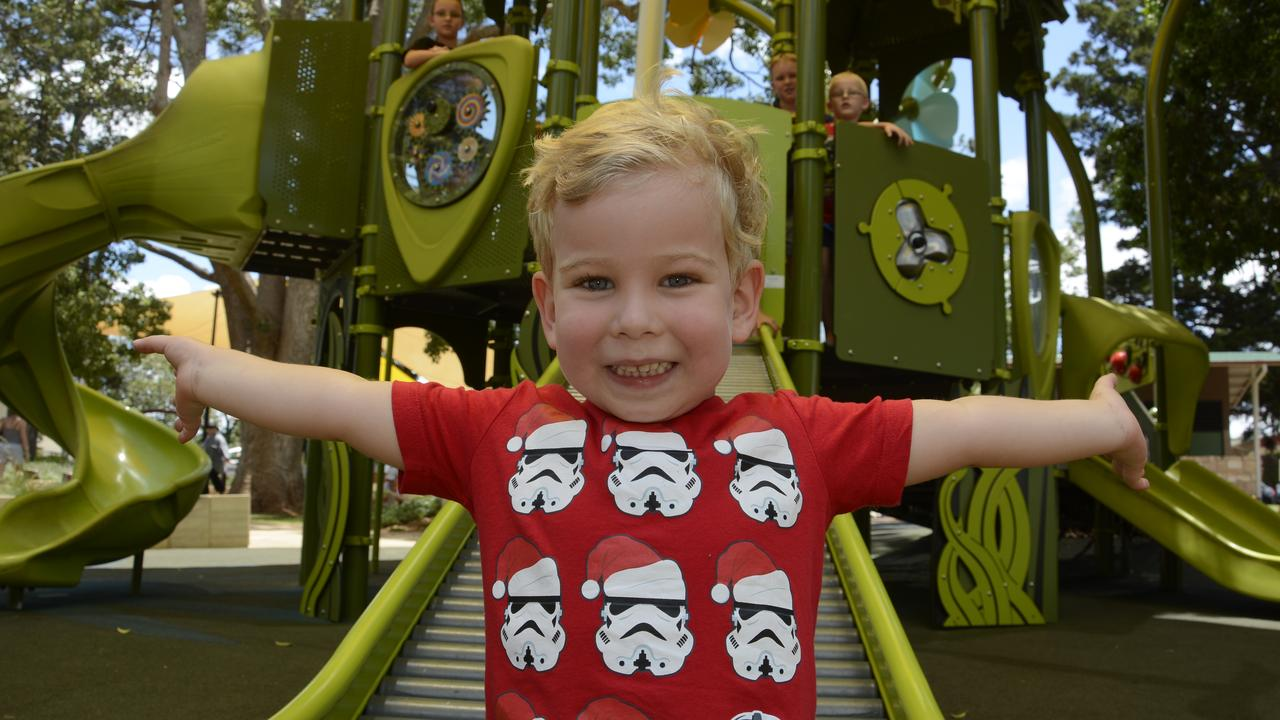 SLIDING: Toowoomba children Charlie Gleeson is loving the new play equipment at Queens Park, which was officially opened this week.