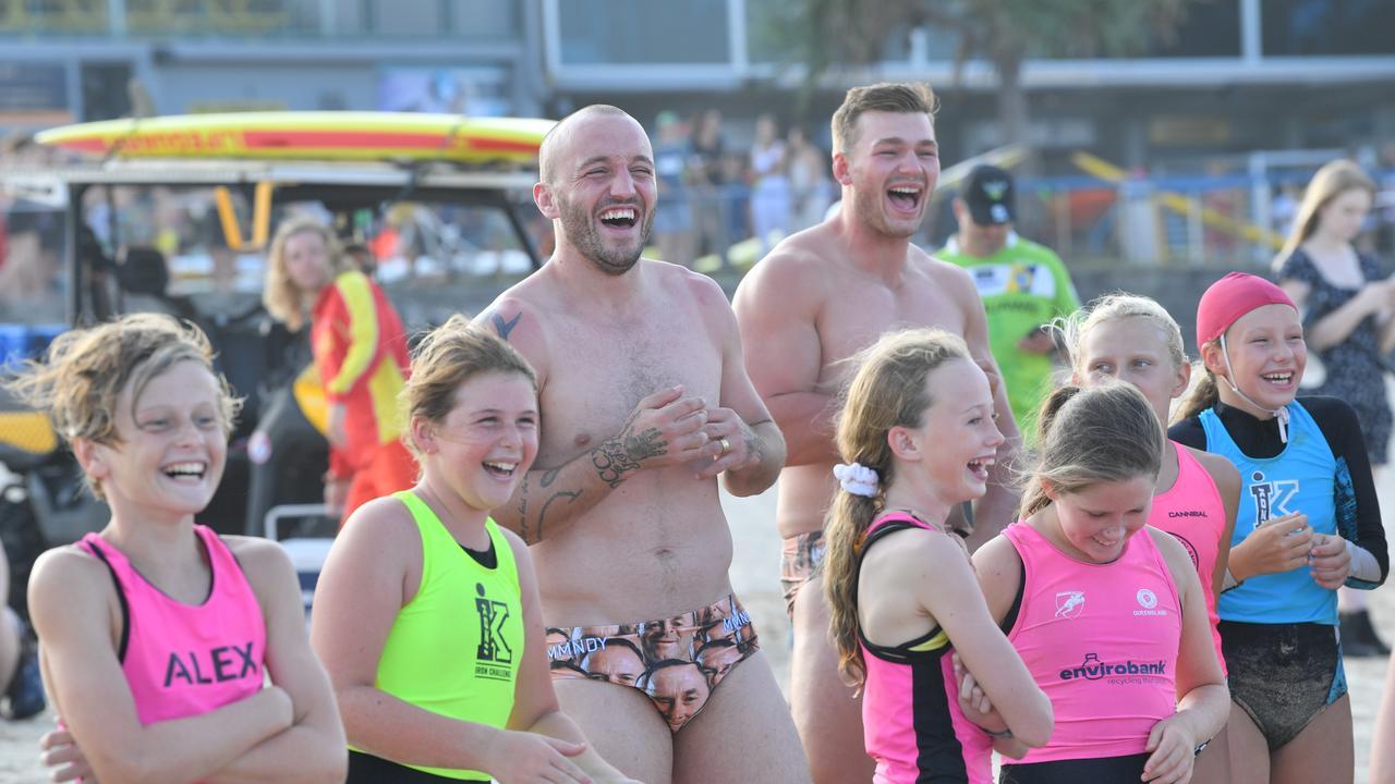 Canberra Raiders players have some fun on Alexandra Headland Beach. Photo: John McCutcheon