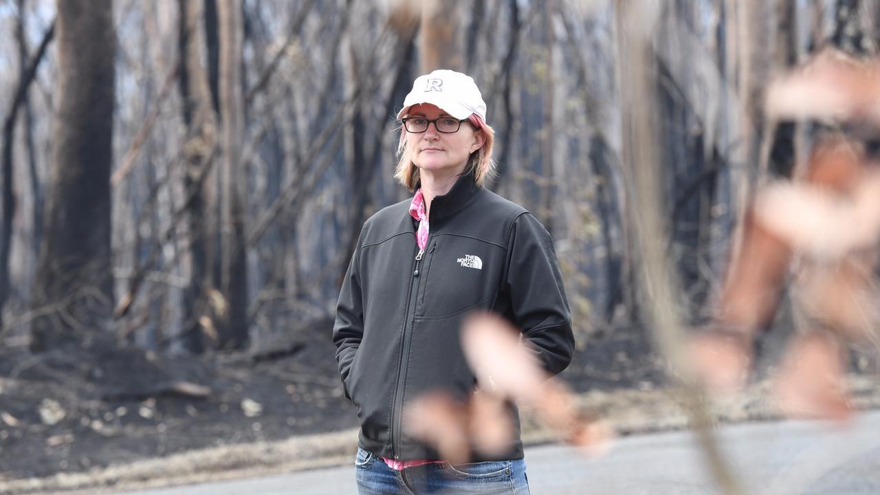 Nadine Myers amidst a burnt out Ewingar. PIC: MARC STAPLEBERG