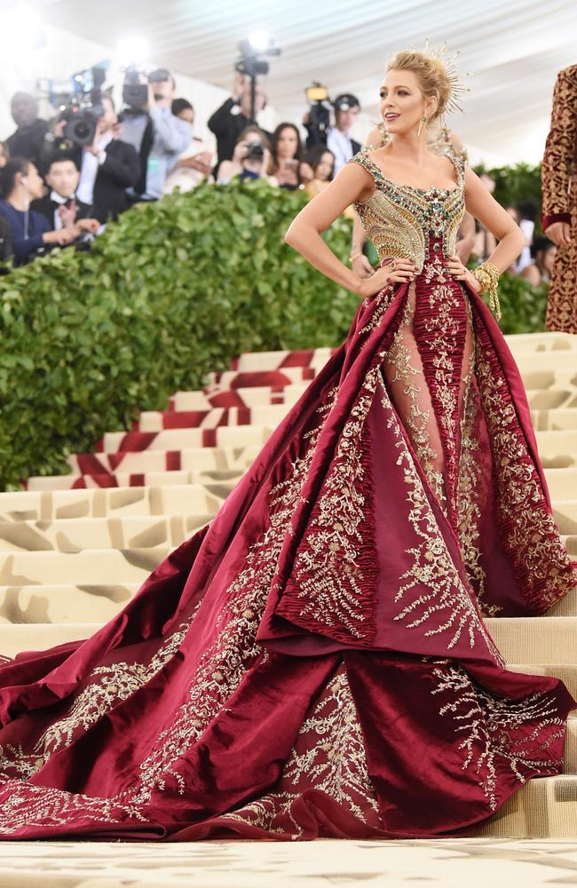 Blake Lively attends the Met Gala in New York in 2018. Picture: Jamie McCarthy/Getty Images