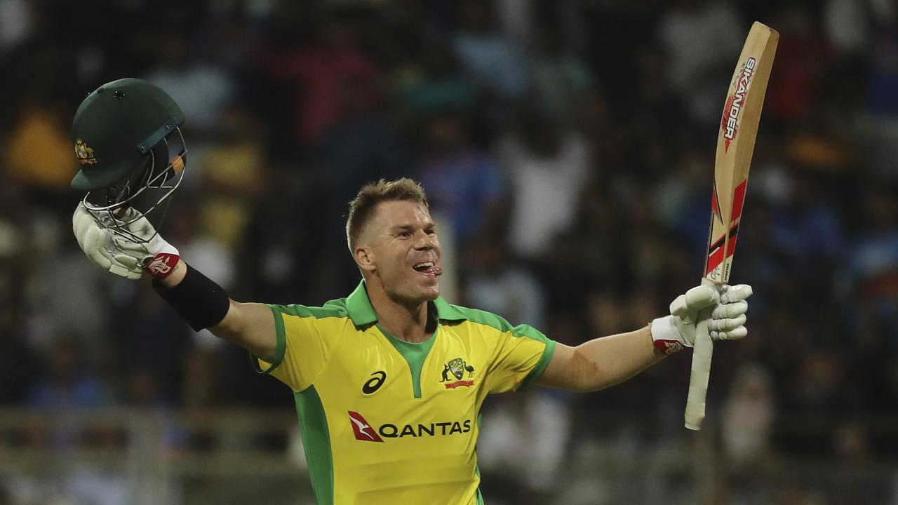 David Warner celebrates his century against India.