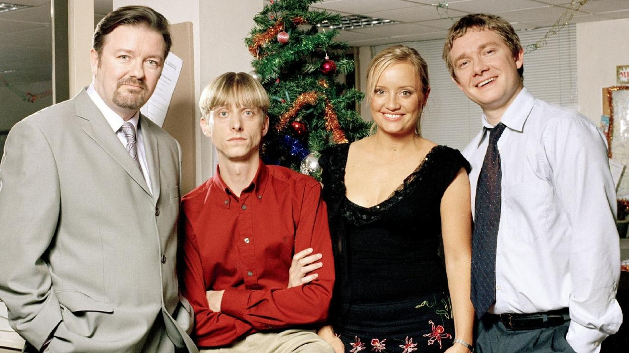 Gervais and cast members from The Office Christmas Special.