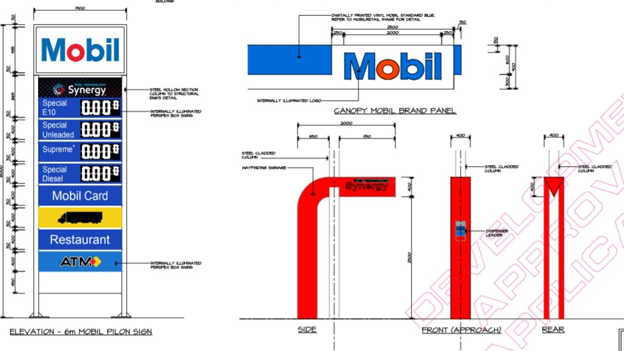 Plans obtained from a development application made to Whitsunday Regional Council for a new Mobil service station on Proserpine.