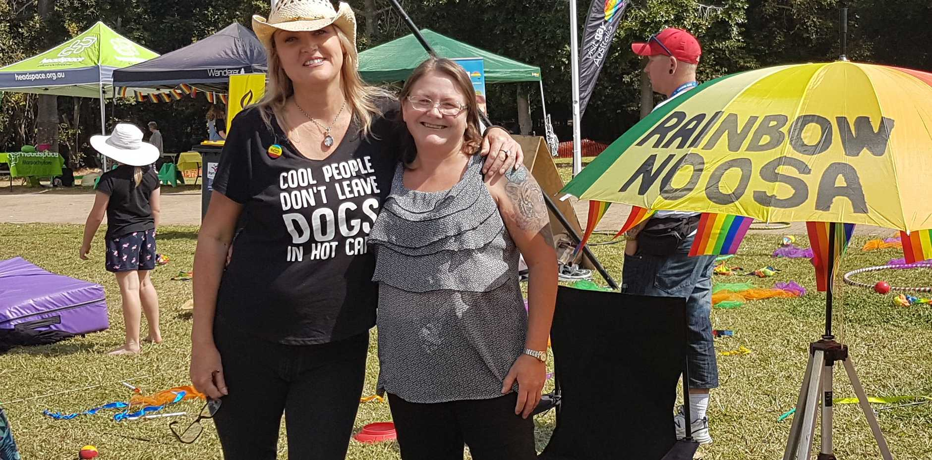 PROUD: Rainbow Noosa members, Courtney Noble and Nicole Dillon at the 2019 Sunshine Coast Pride Festival in Nambour.