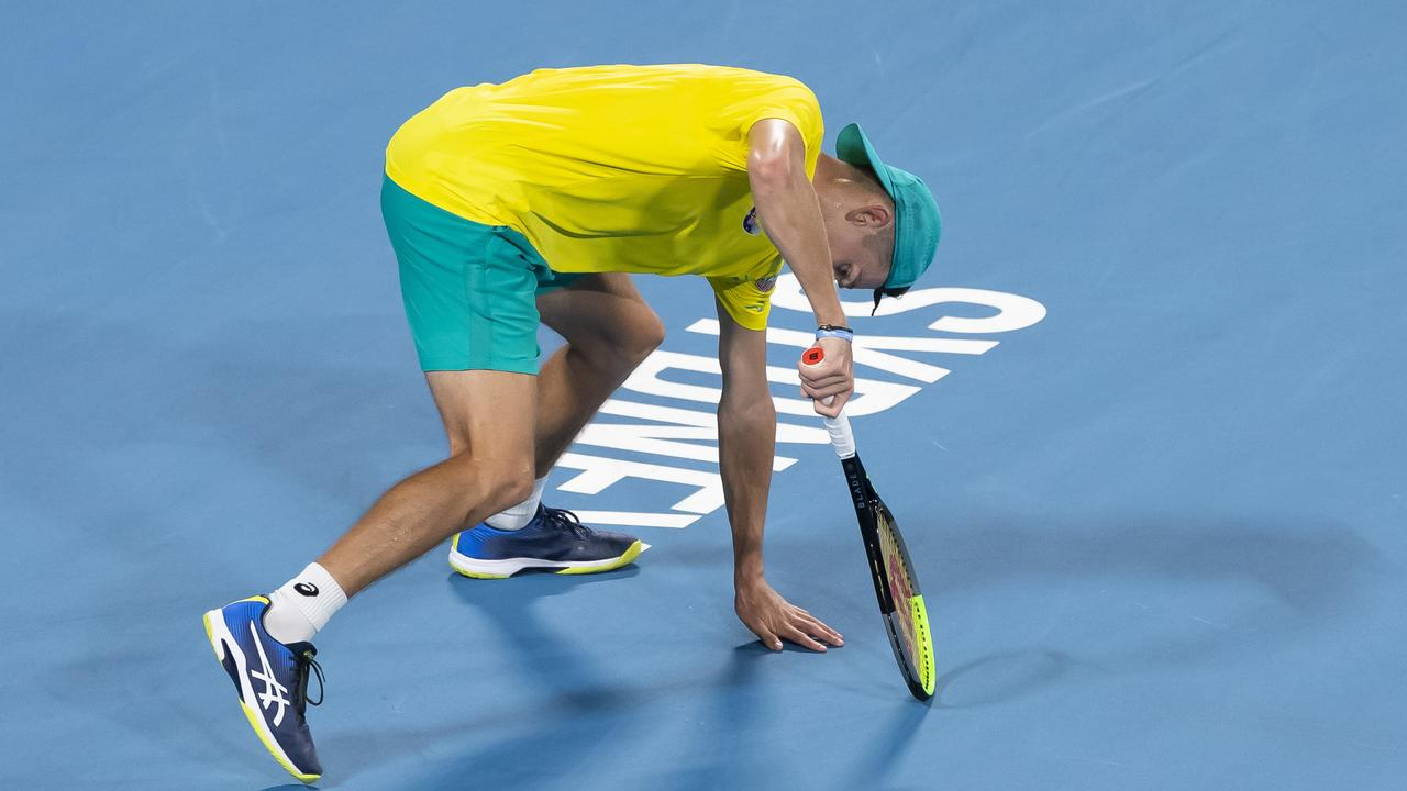 Alex de Minaur injured his abdominal muscle during a gruelling ATP Cup campaign. Picture: AAP/Craig Golding