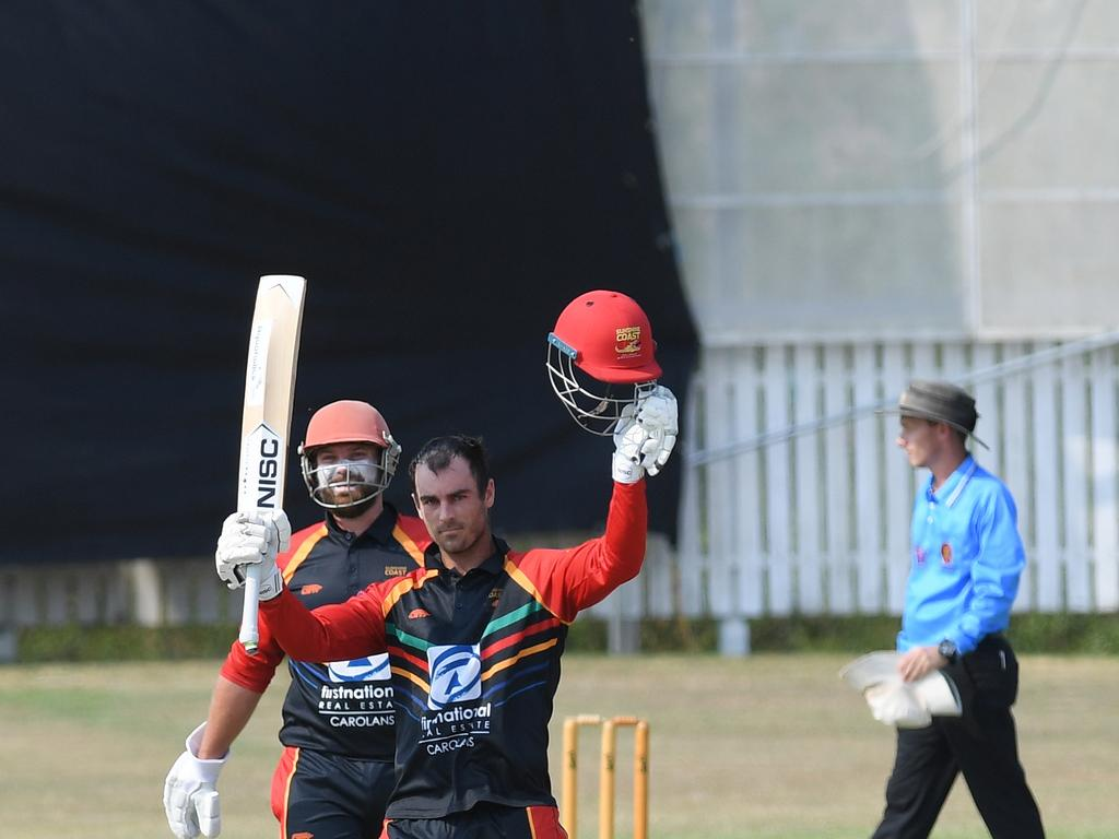 Sunshine Coast batsman Alecz Day celebrates a T20 century weeks before he collapsed at training.