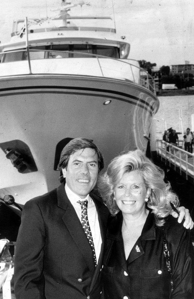 Businessman Christopher Skase and wife Pixie with their cruiser at Mirage Resort on Gold Coast in Queensland in 1987. Pic New Limited.