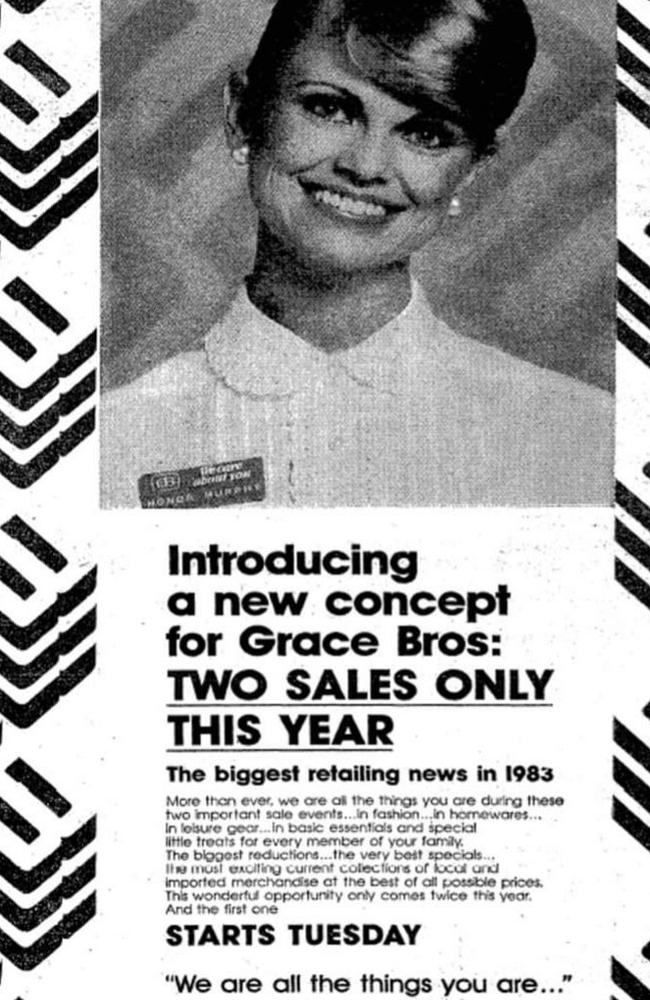 This Grace Brothers ad from 1983 shows how serious our discounting problem has become. Picture: Twitter/@ProfRetail