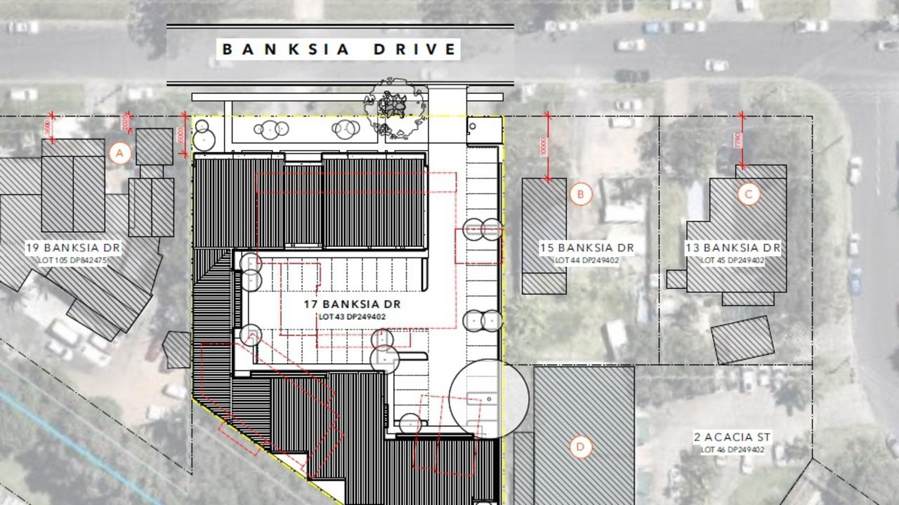 Plans of a light industrial development proposed for 17 Banksia Drive, Byron Bay.