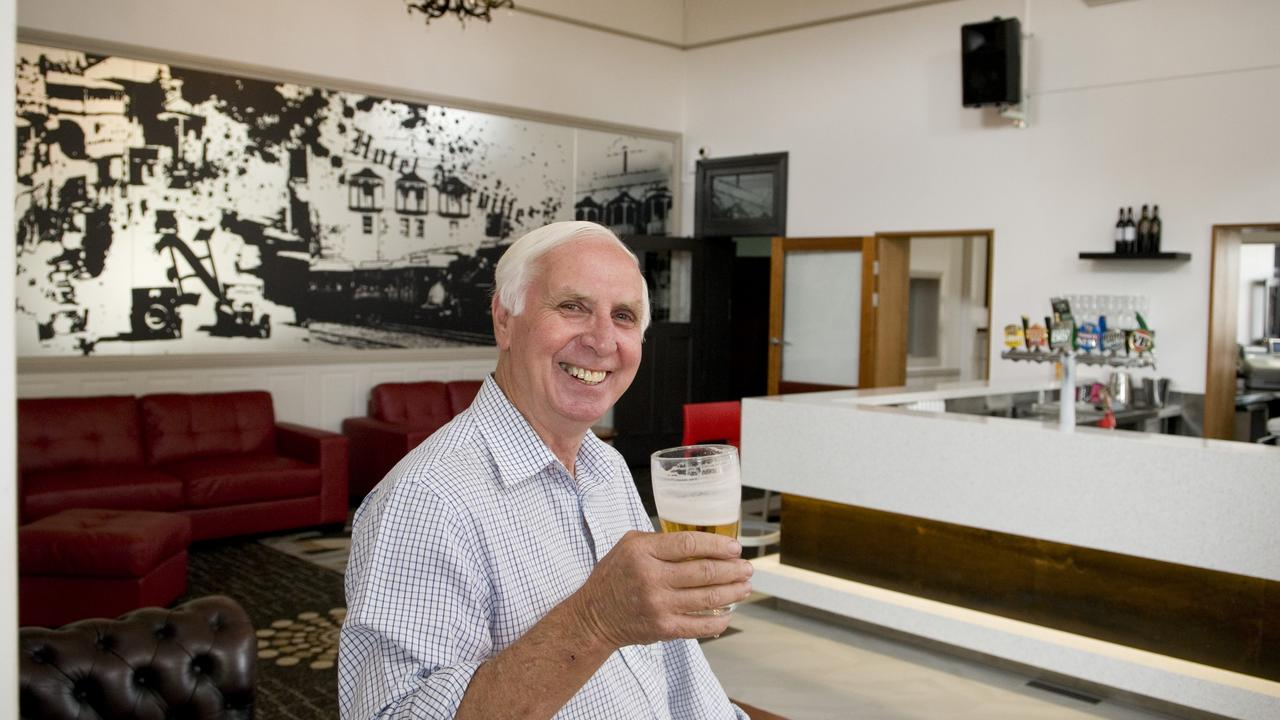 Deceased Norville Hotel owner John Anderson drinks in his pub, which has announced its closure at the end of the month. Photo Kevin Farmer