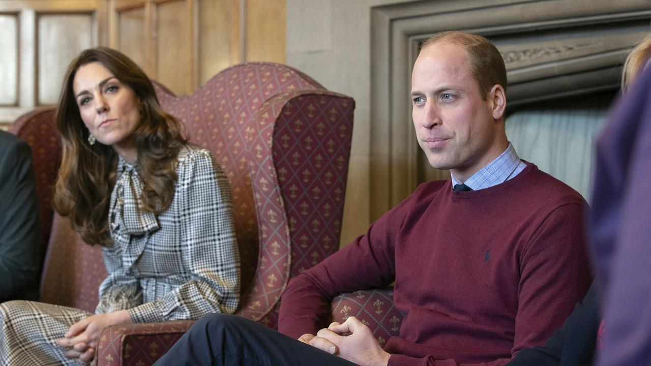 Prince William and Kate, Duchess of Cambridge speak during a visit to City Hall in Bradford. Picture: Charlotte Graham/Pool Photo via AP