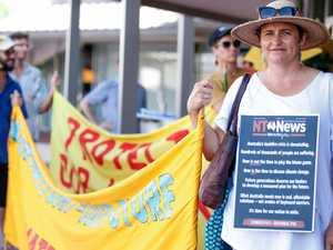 Fracking demonstrators rally at Minister Eva Lawler's office