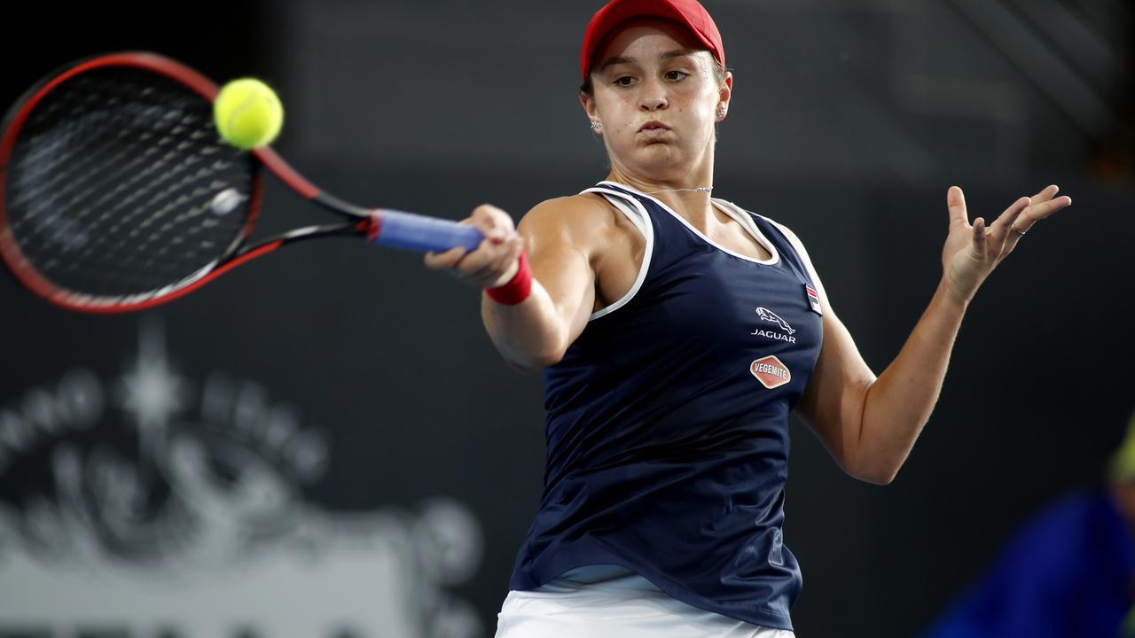 Ashleigh Barty of Australia plays a shot against Marketa Vondrousova at the Adelaide International tennis tournament.