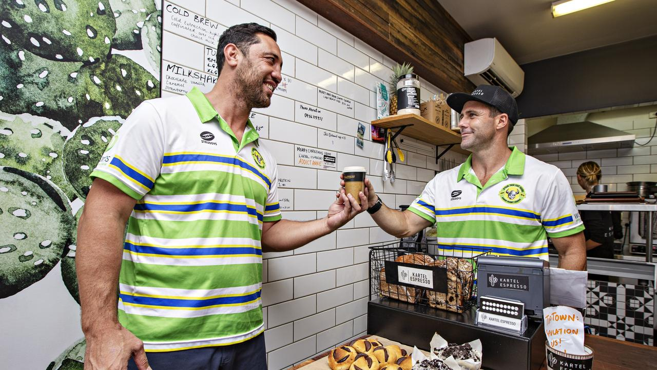 Coach Brent Kite with Ex NRL player Michael Gordon at his coffee shop in Cabarita