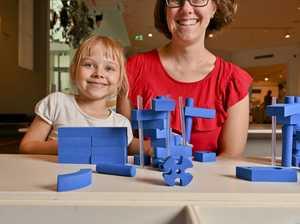 Charlotte, 6 and Catherine Uroda at the Ipswich Art