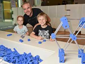Sophia, 5, Tony and Isaac Mills, 8 at the Ipswich