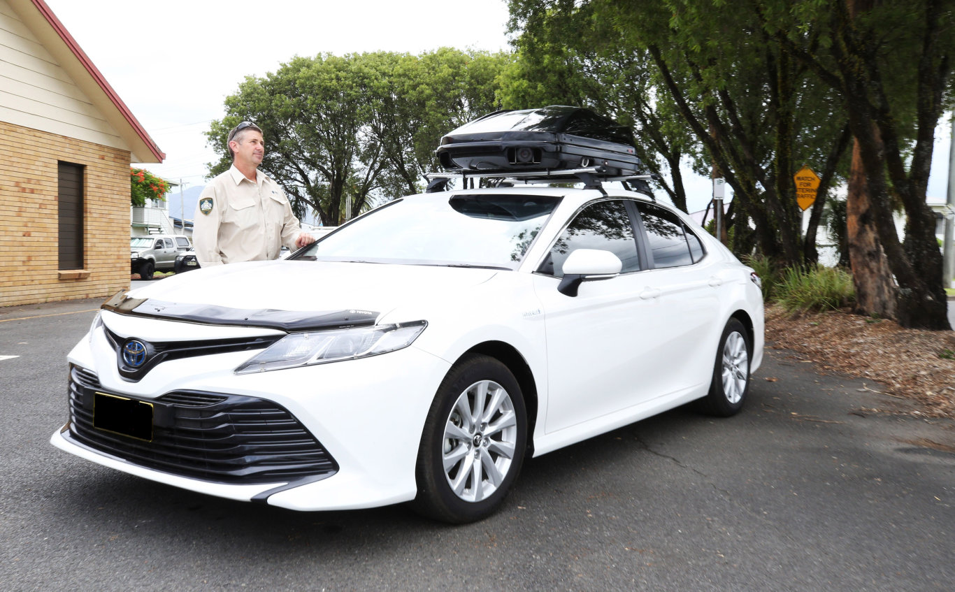 Tweed Shire Council Officer, Ranger Rob with the new Council Camera car to monitor parking within the shire