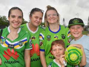 NRL team The Canberra Raiders mingle with fans at