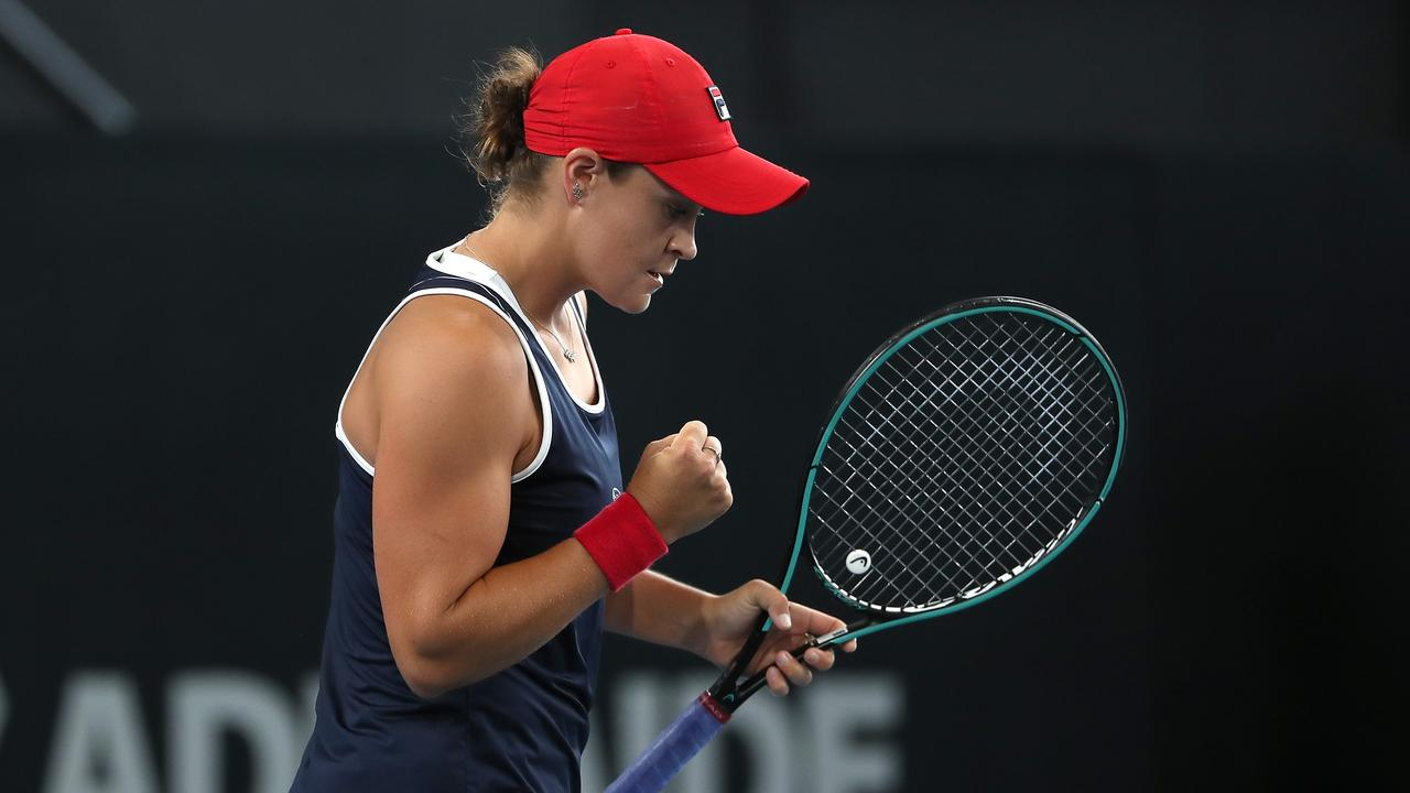 Ash Barty launched an epic comeback to reach the Adelaide International final. Picture: Paul Kane/Getty