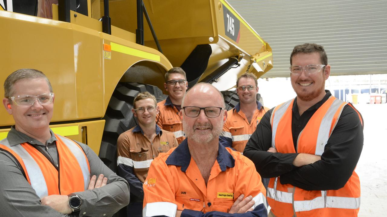 MILESTONES: Hastings Deering servicing employees (from left) Justin Butcher (20 years), Wil Hamilton (10 years), Dylan Shaw (10 years), Ian McQuillan (50 years), Corey Hauser (10 years) and Casey Dallas (15 years) have all celebrated anniversaries with the company.