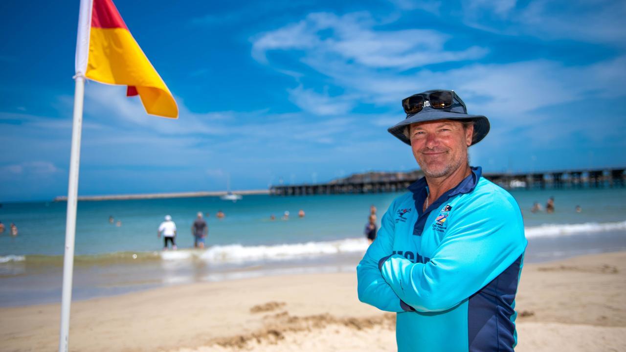Coffs Harbour Lifeguard Greg Hackfath patrolling Jetty Beach.