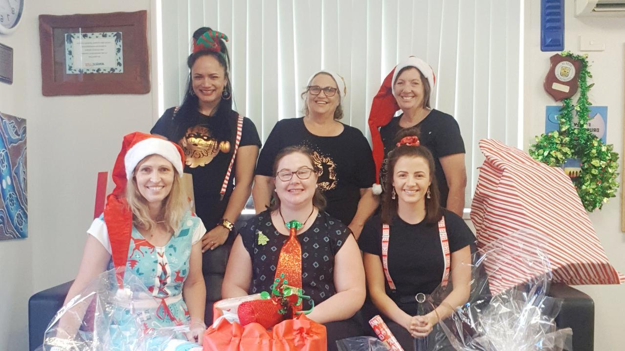 GIVING BACK: Anglicare CQ staff Maurica Wilson, Ellen Drane, Debbie Vonhoff, Lori Simpkins, Trish Vonhoff and Hannah Gould thank the community for their generosity over Christmas.