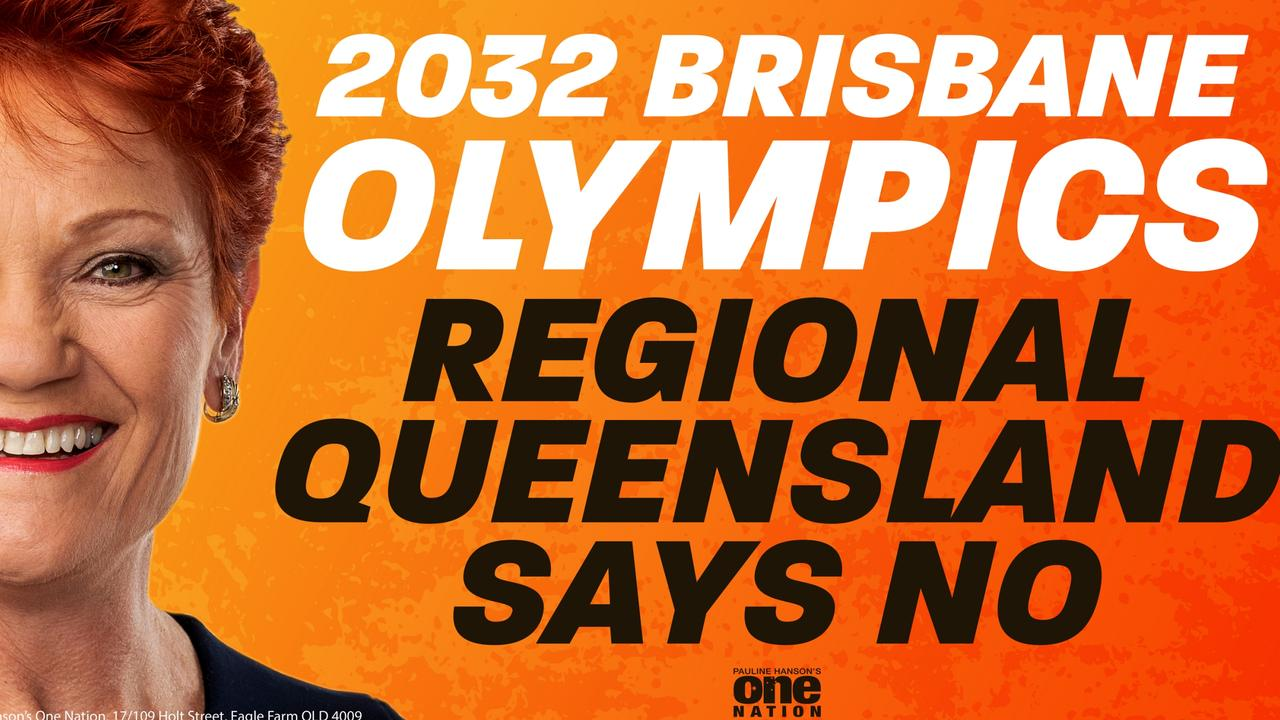 Pauline Hanson's billboard opposing the Olympics bid.