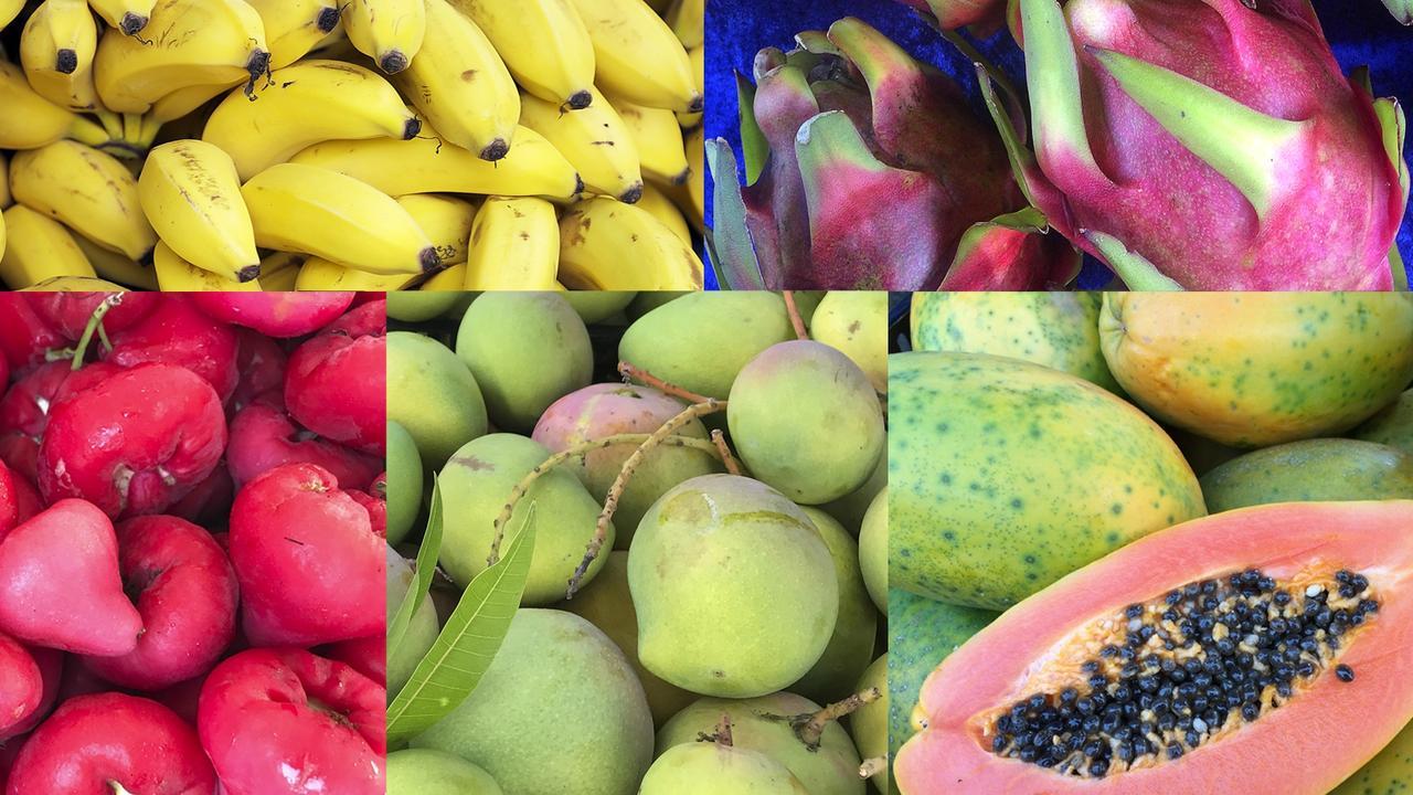 Bananas, dragonfruit, wax jambu, mangoes and papaya are some of the fruits in season locally now.