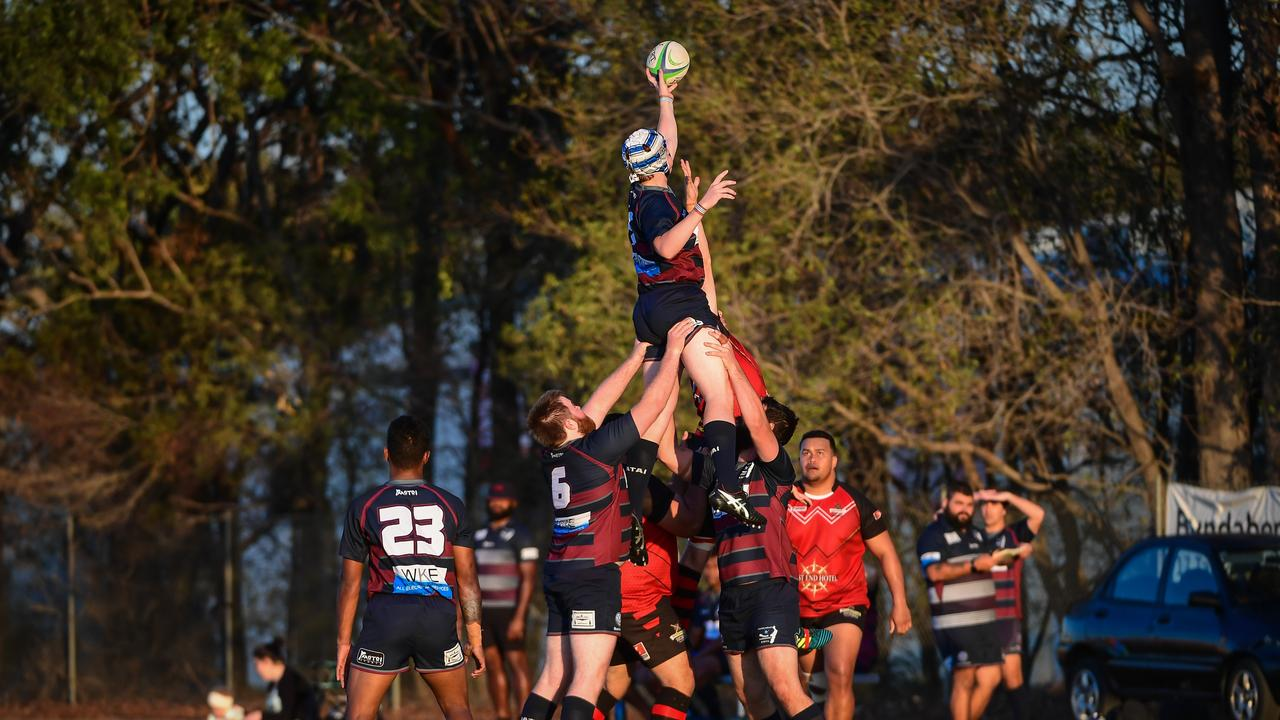 Tom DEmilio is lifted to the perfect spot to control the line in for the Fraser Coast Mariners.