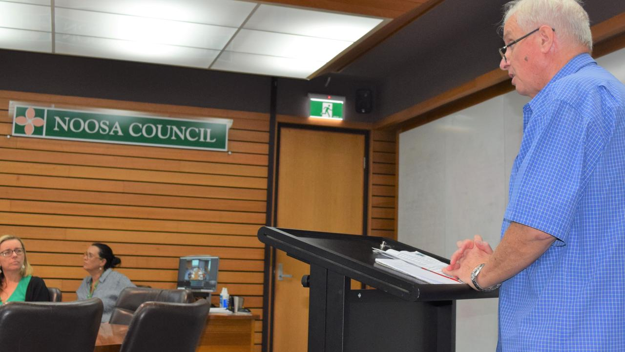 Pomona advocate Brian O'Connor becomes the first person to put a question to Noosa Council in its new public question time.